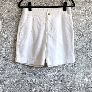Corey Lynn Calter White Linen Pleated Front Shorts